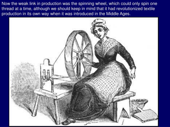 Now the weak link in production was the spinning wheel, which could only spin one thread at a time, although we should keep in mind that it had revolutionized textile production in its own way when it was introduced in the Middle Ages