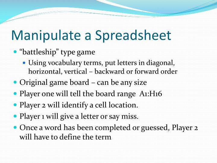 Manipulate a Spreadsheet