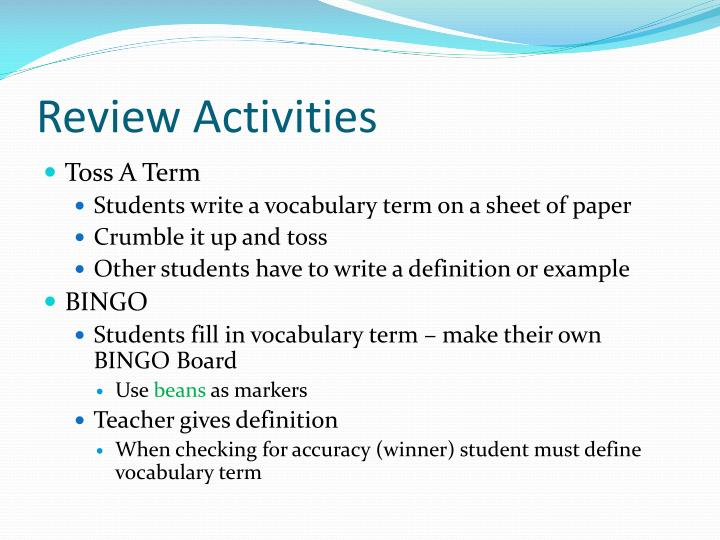 Review Activities