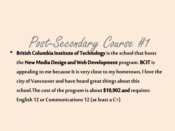 Post-Secondary Course #1