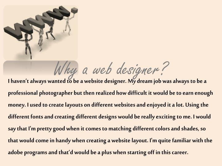 Why a web designer