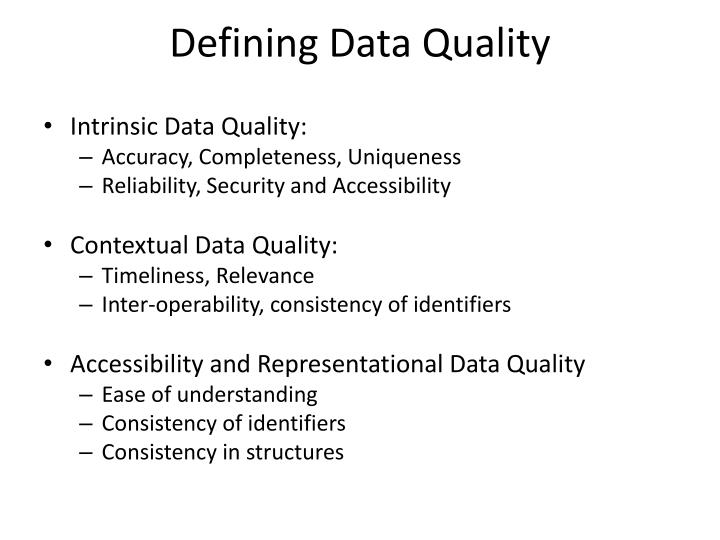 Defining Data Quality