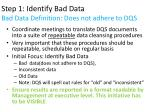 step 1 identify bad data bad data definition does not adhere to dqs