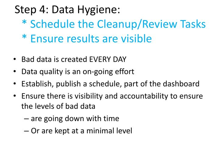 Step 4: Data Hygiene: