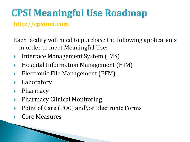 CPSI Meaningful Use Roadmap