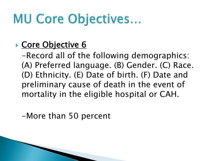 MU Core Objectives