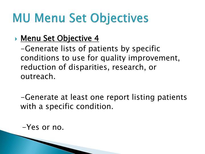 MU Menu Set Objectives