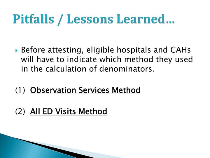 Pitfalls / Lessons Learned