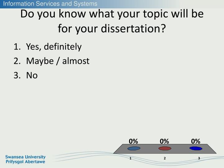 Do you know what your topic will be for your dissertation