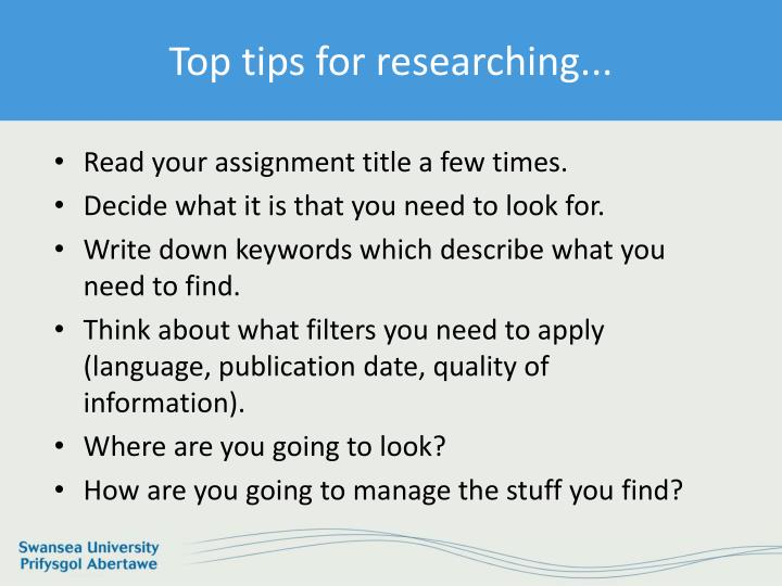 Top tips for researching...