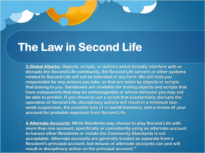 The Law in Second Life