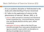 basic definition of exercise science es