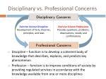 disciplinary vs professional concerns
