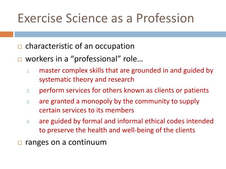 Exercise Science as a Profession