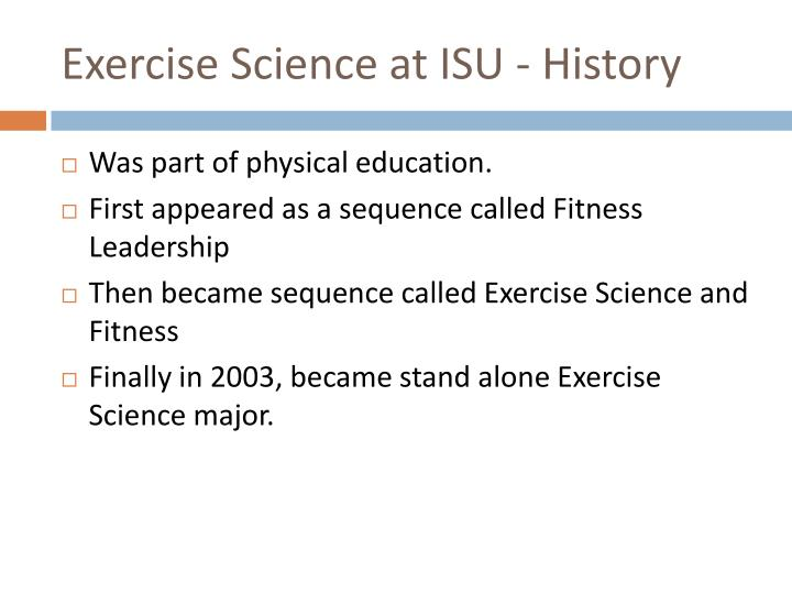 Exercise Science at ISU - History