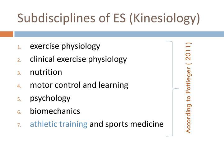 Subdisciplines of ES (Kinesiology)