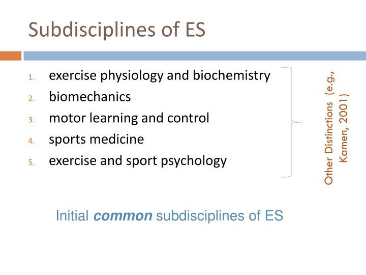 Subdisciplines of ES