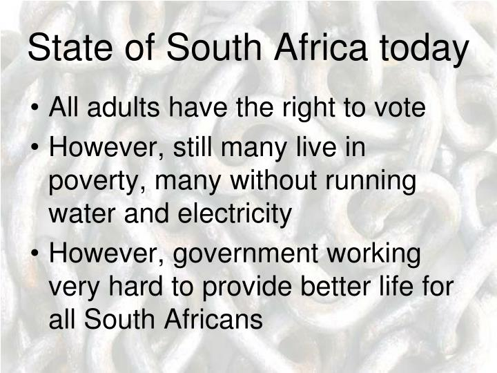 State of South Africa today