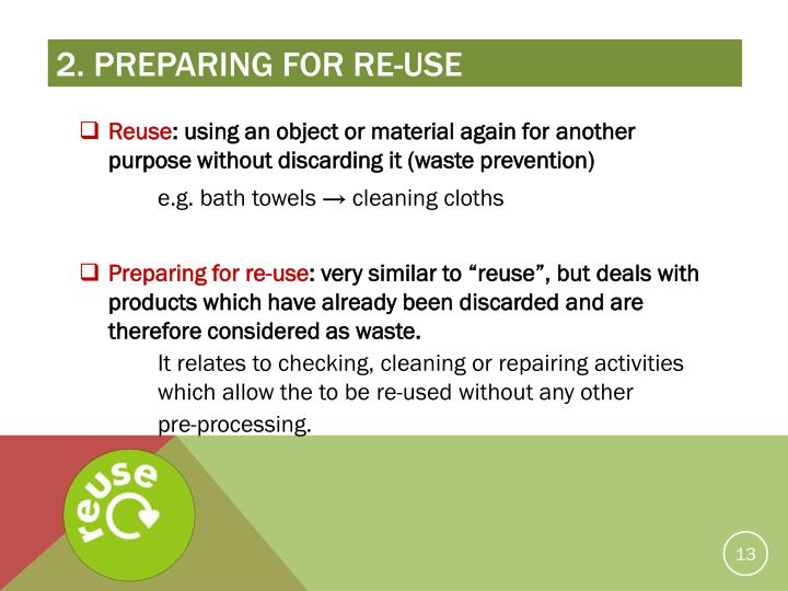 2. Preparing for re-use