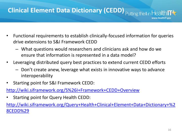 Clinical Element Data Dictionary (CEDD)
