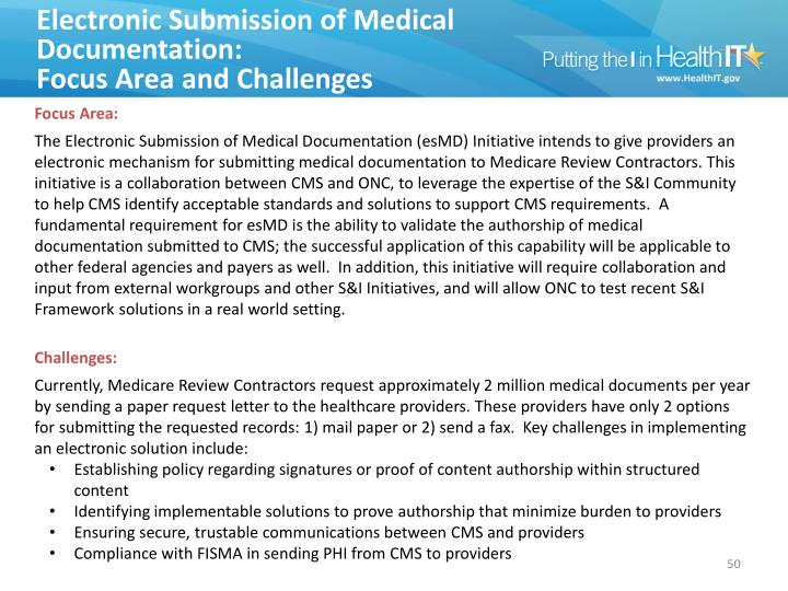 Electronic Submission of Medical Documentation: Focus Area & Challenges