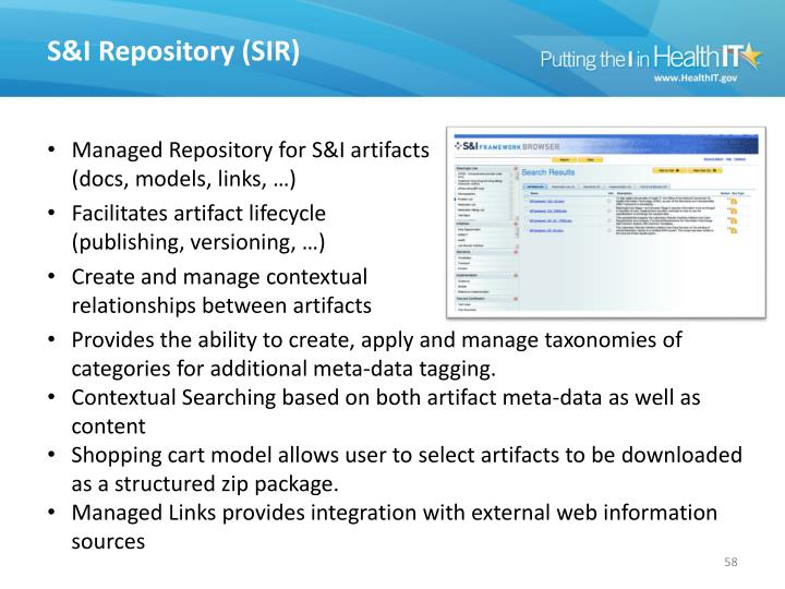 S&I Repository (SIR)