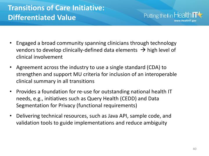 Transitions of Care Initiative: