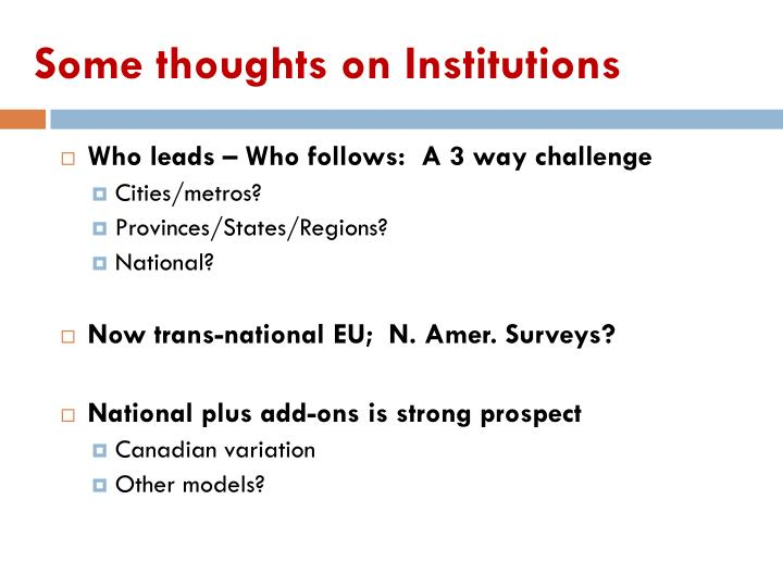 Some thoughts on Institutions
