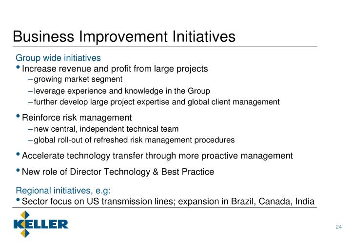 Business Improvement Initiatives
