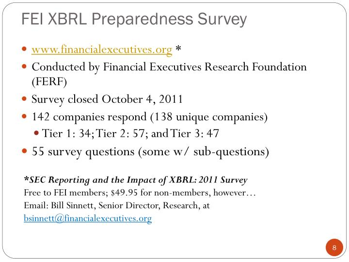 FEI XBRL Preparedness Survey