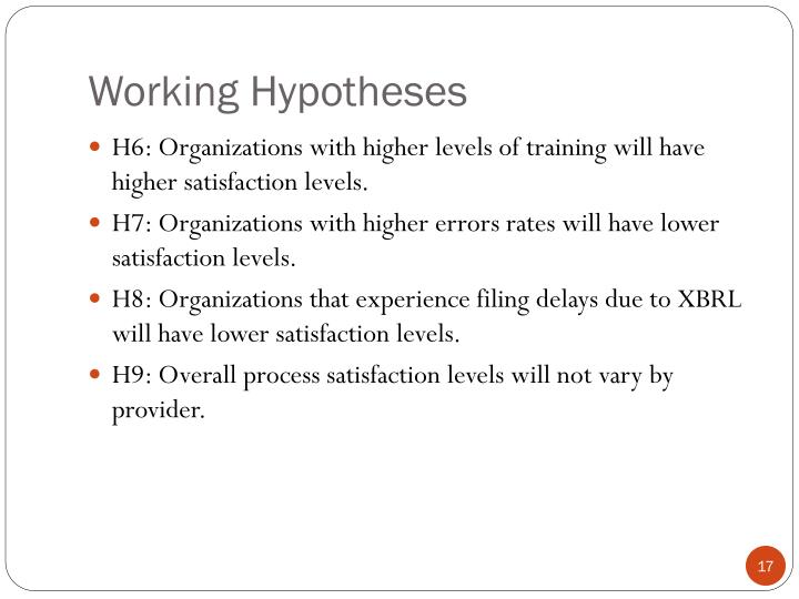 Working Hypotheses
