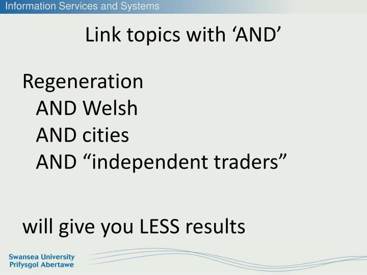Link topics with 'AND'