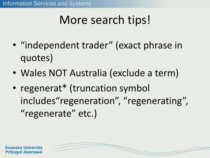 More search tips!