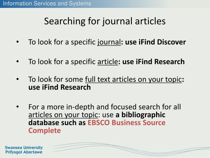 Searching for journal articles