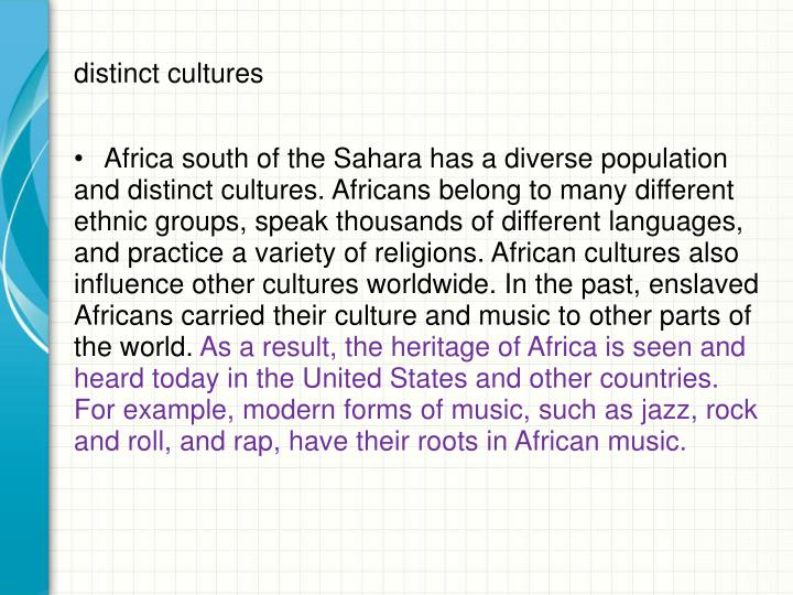 distinct cultures