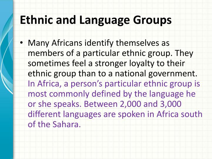 Ethnic and Language Groups