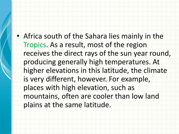 Africa south of the Sahara lies mainly in the