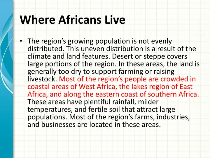 Where Africans Live