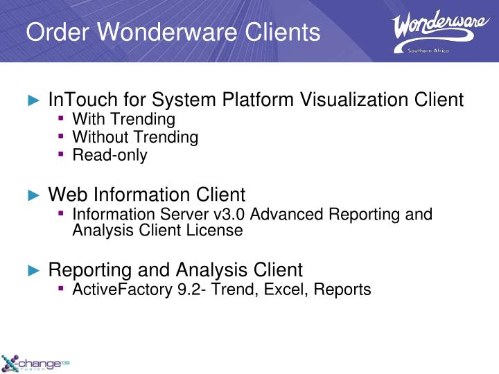 Order Wonderware Clients