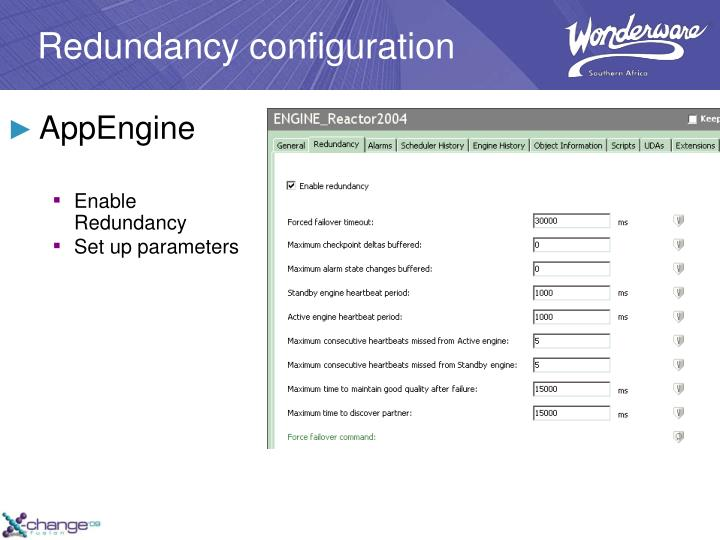 Redundancy configuration