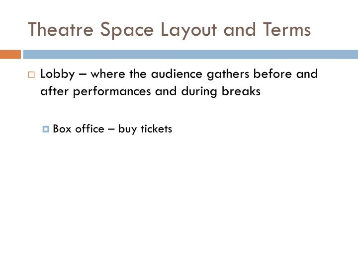 Theatre Space Layout and Terms