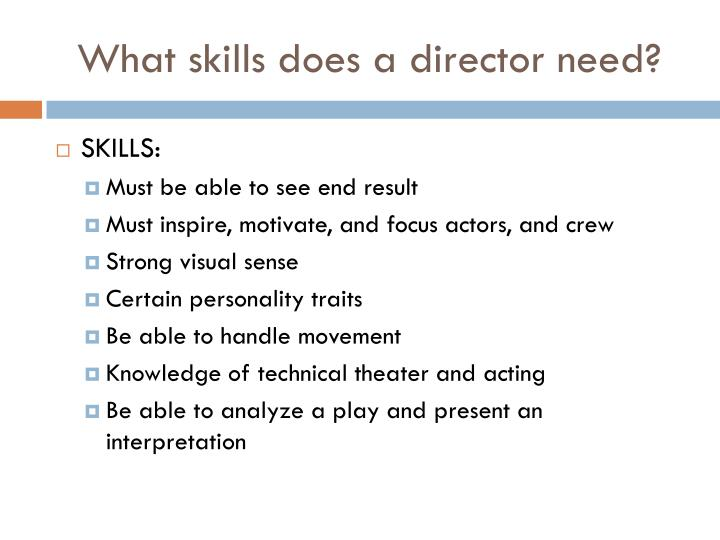 What skills does a director need?