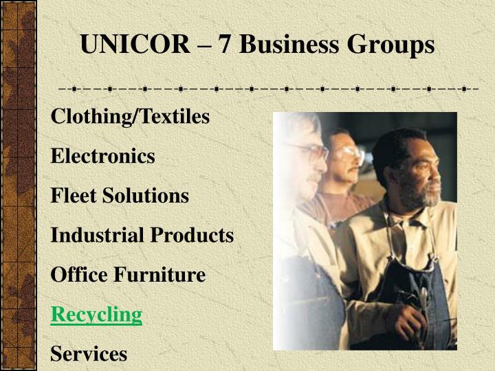 UNICOR – 7 Business Groups