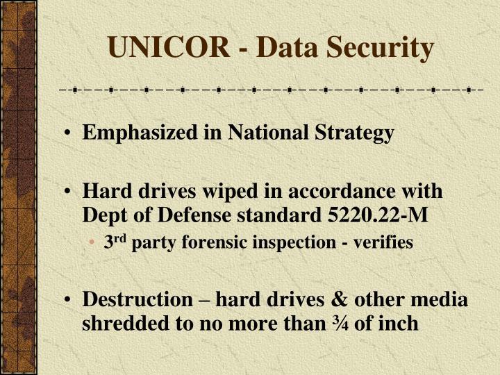 UNICOR - Data Security