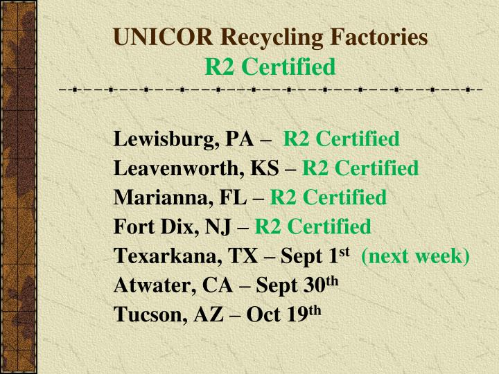 UNICOR Recycling Factories