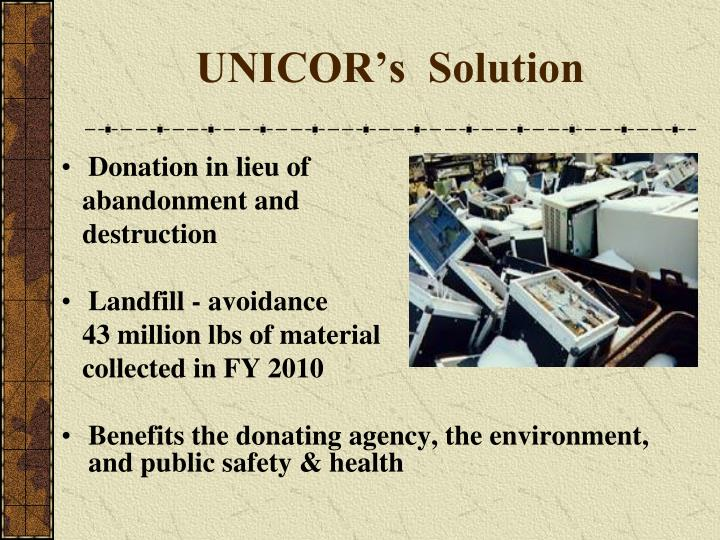 UNICOR's  Solution