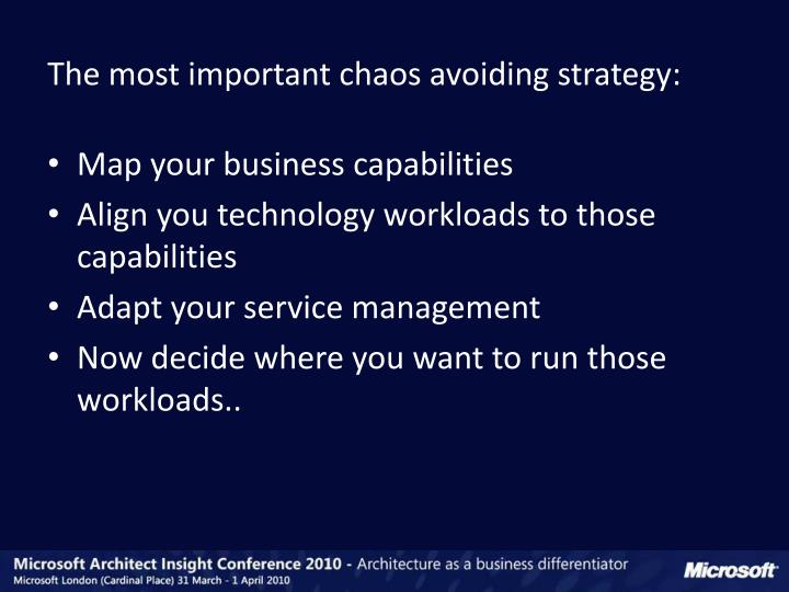 The most important chaos avoiding strategy: