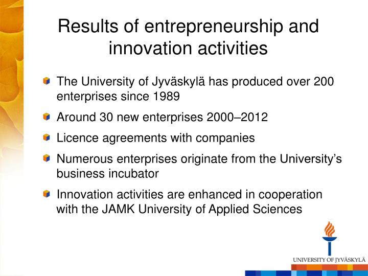 Results of entrepreneurship and innovation activities