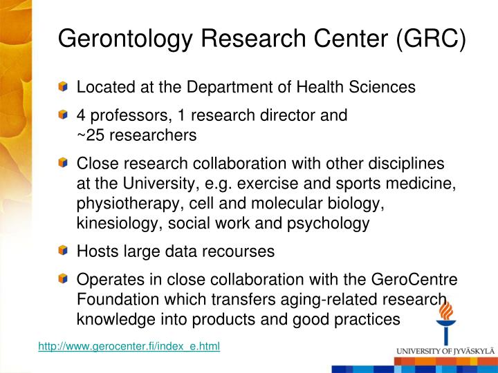 Gerontology Research Center (GRC)