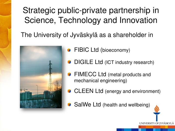 Strategic public-private partnership in  Science, Technology and Innovation